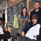 Fiona Russell, Megan Brady, Dale Scoles and Jono Glassey of Studio 2 with some of the recycled...