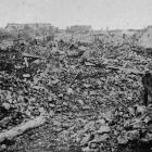 A section of the battlefield after a recent advance: a village captured by the British on the...