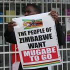 A man carries a poster calling for Zimbabwe President Robert Mugabe to step down. Photo: Reuters
