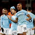Manchester City's Fabian Delph celebrates after the match. Photo Reuters