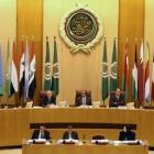 Arab League Secretary-General Ahmed Aboul Gheit speaks during Arab League foreign ministers...