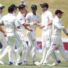 Black Caps players celebrate after winning the second test against the West Indies yesterday....