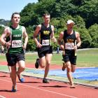 Aaron Anderson (left) shares the lead with Alistair Richardson (centre) and Tim Bolter in the...