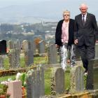 Pam and Kevin Henderson stroll through the Balclutha Lawn Cemetery after retiring from long...
