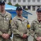 Staff Sergeant Aaron Giles (centre), from Gore, pictured with other NZDF personnel in South Korea...
