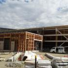 The Wanaka swimming pool roof and wall structure is finished and roof cladding is in place. PHOTO...