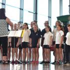 Fairfield School's choir, Forte, conducted by music teacher Alison Tay, performs at Toitu Otago...