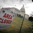 A view of the US Capitol building during the third day of a government shutdown in Washington....