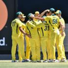 The Australian cricket team during their most recent one-day international loss to England. Photo...