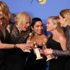 "Laura Dern, Nicole Kidman, Zoe Kravitz, Reese Witherspoon and Shailene Woodley (L-R) pose backstage after winning the award for Best Television Limited Series or Motion Picture Made for Television for ""Big Little Lies."" Photo: Reuters"