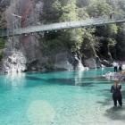 The Blue Pools on the Makarora River are a popular spot for sightseers, as well as swimmers...