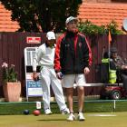 Auzzie Chambers follows the path of his bowls during singles qualifying play at St Clair last...