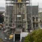 Scaffolding has been removed from the very top of the First Church spire, as work is  done from...