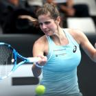 Julia Goerges plays a shot at the ASB Classic final today. Photo: Getty Images