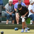 Jo Edwards draws a shot during the women's final at the national bowls championships at the...