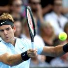 Juan Martin Del Potro plays a shot during his win last night at the ASB Classic in Auckland....