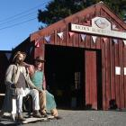 "Mike Gray and ""friend'' outside Nicol's Blacksmith Shop in Duntroon. PHOTO: ODT FILES"
