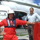 Glacier Southern Lakes Helicopters chief pilot Andy Clayton (left) and general manager Matt Wong....