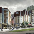 An artist's impression of a hotel and retail development proposed for Queenstown's Brecon St....