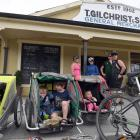 Having a breather outside Gilchrist's General Store in Oturehua are, from left (front), Brianna...