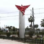 A red angel-shaped statue called 'Phylax' by Greek artist Kostis Georgiou is seen in southern...