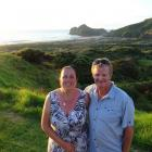 Mark Salmons, pictured with wife Sharon, died while fly fishing in Golden Bay on Boxing Day....