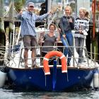 Almost ready to set sail on their journey around New Zealand are Jorg, Katrin, Mara (13) and...