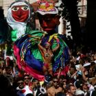 """Revellers take part in the annual block party known as """"Carmelitas"""", during carnival festivities..."""