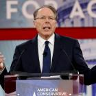 NRA Chief Executive Wayne LaPierre speaks at the Conservative Political Action Conference at...