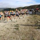 Runners leave the starting line of the Rail Trail Duathlon in Clyde on Saturday morning. Photo:...