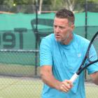 Southern Lakes' Alastair Hunt in action  in the final round of the Southern Tennis league in...