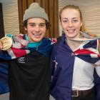 New Zealand Winter Olympic Games medal winners Nico Porteous and Zoi Sadowski-Synnott arrive in...