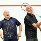 Competing in a squash game on Saturday are John Scully (left) and Eddie Delahunty. Photo:...