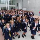 Wakatipu High School's new entrants prepare to enter their new school near Remarkables Park on...