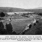 The steel bridge on the Clutha River at Luggate. Mr J. E. Menzies (county engineer) and Mr...