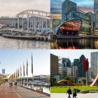 Montage of waterfront redevelopments from Getty Images. (left top clockwise) Barcelona, London, San Francisco and Sydney.