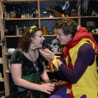 Kimberley Buchan (Magrat Garlick) and Brook Bray (The Fool) rehearse the Wyrd Sisters at the Globe Theatre this week.