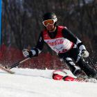 Otago skier Adam Hall on his bronze-medal winning run in the men's super combined slalom ...