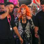 Cher watches participants in the Gay and Lesbian Mardi Gras Parade in central Sydney on Saturday...