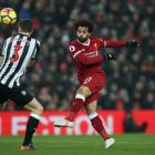 Liverpool's Mohamed Salah takes a shot at goal against Newcastle United. Photo: Reuters