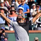 Juan Martin Del Potro celebrates his victory over Roger Federer Photo: Jayne Kamin-Oncea-USA...