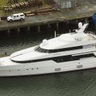 Luxury superyacht Be Mine berthed alongside the Kitchener St wharf yesterday. PHOTO: STEPHEN...