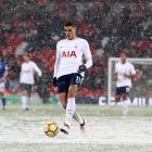 Tottenham's Eric Lamela plays in the Wembley snow. Photo: Getty Images