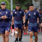Warriors Coach Stephen Kearney (L) and captain Roger Tuivasa-Sheck (R) during a Warriors training...