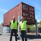 Greg (left) and Mark Fahey, from Bison Group, with their new container lifting solution. Photo:...