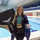 Kathryn Nevatt with her  treble of medals from the Pan Pacific Freediving Championships in Tokyo....