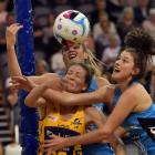 Sunshine Coast Lightning goal defence Karla Pretorius (front left) clashes with Southern Steel...