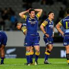 Otago rugby players wearing the team's jerseys, which carry the Speights sponsorship logo. Photo:...