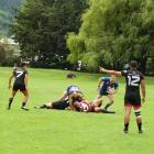 Otago's Andrew McAuley takes off from a maul during Saturday's Fire and Emergency New Zealand...