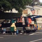 Freedom campers set up outside Olveston in Dunedin last night. Photo: Stephen Jaquiery